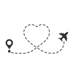 Love travel route icon in flat style airplane vector