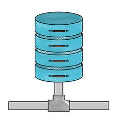 Network server storage icon in color crayon vector