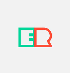 orange green alphabet letter logo combination er vector image