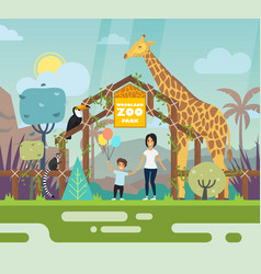 Outdoor view on zoo entrance with animals vector