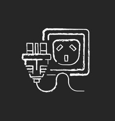 outlet for cable chalk white icon on black vector image