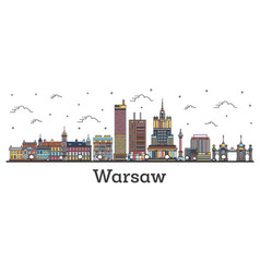 outline warsaw poland city skyline with color vector image