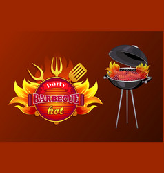 Party bbq barbecue hot poster vector