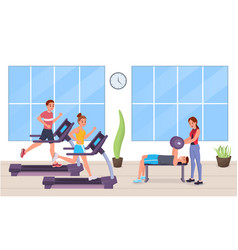 people in gym flat style vector image
