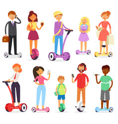 people on hoverboard character on segway vector image