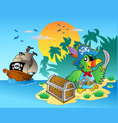 Pirate parrot and chest on island vector