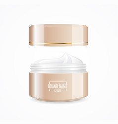 Realistic cream can cosmetic product open vector