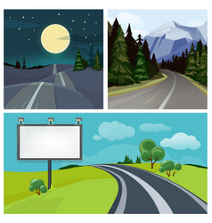 Road to city highway and different types of urban vector