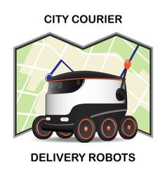 Robot dron delivers parcel concept of vector