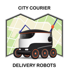 robot dron delivers the parcel the concept of vector image
