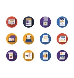 Round flat color web articles icons set vector image