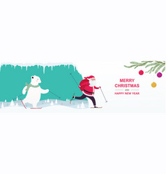 santa claus with a gift bag and a bear skiing in vector image