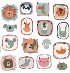 seamless pattern with cute animal faces in vector image