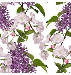 seamless pattern with hand drawn sakura vector image