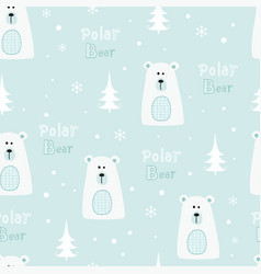 Seamless pattern with polar bears vector