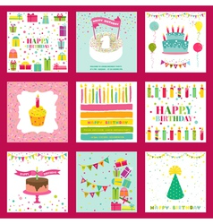 Set happy birthday and party invitation card vector