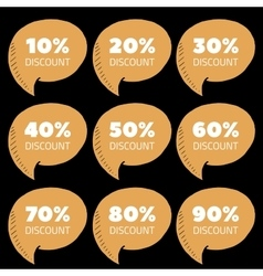 Set of brown percent discount speech bubble sale vector