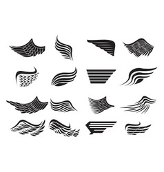 set of wings emblems vector image