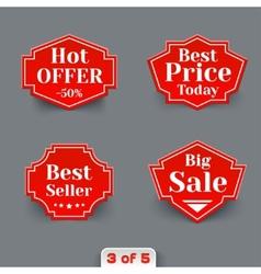 set red sale paper retro labels vector image