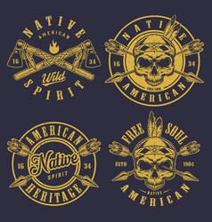 Set skull logos vector