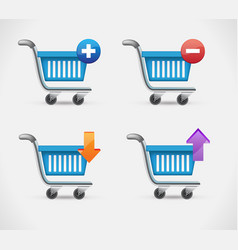 shopping busket icon in realistic style isolated vector image