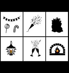 silhouettes set happy merry christmas symbols vector image