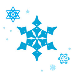 Simple snowflake icon collection isolated on vector