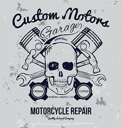 Skull and Pistons t-shirt graphic vector image