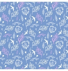 Soft blue seamless pattern with flowers and birds vector image