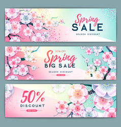 Spring big sale poster with full blossom flowers vector