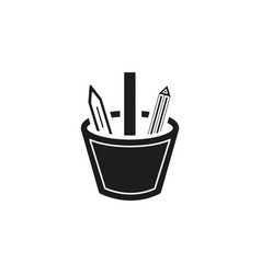 stationary icon pencil with pen and ruler set vector image