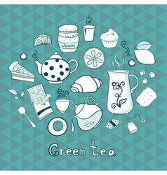 Tea and sweets icons set vector image
