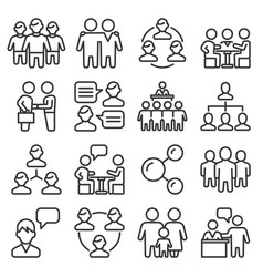 team and business icons set on white background vector image