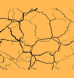 Texture black cracks on ground drought vector