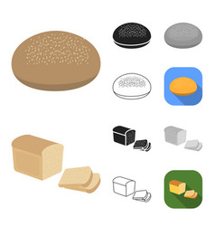types of bread cartoonblackflatmonochrome vector image