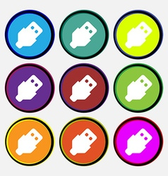 USB icon sign Nine multi-colored round buttons vector