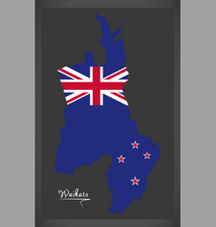 Waikato new zealand map with national flag vector