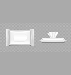 wet wipes package mockup antibacterial hand vector image