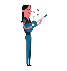 Woman playing guitar icon vector