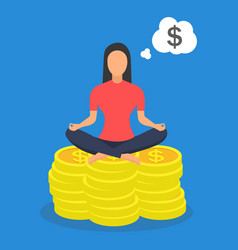 Woman sitting yoga lotus pose on coins vector