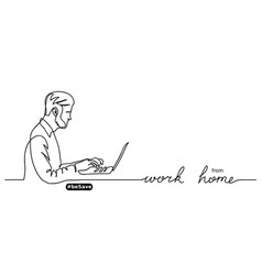 Work from home lettering man with laptop vector