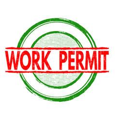 Work permit stamp vector
