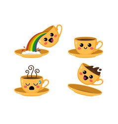 yellow cups kawaii coffee set on a white vector image