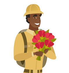 Young african traveler holding bouquet of flowers vector