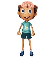Boy with brain inside his head vector image
