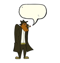 cartoon man in hat and trench coat with speech vector image vector image