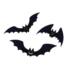 Cute flying Bats in flat cartoon style vector image