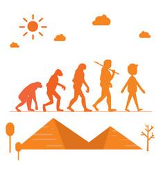 human evolution silhouette progress growth vector image