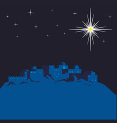 night bethlehem and christmas star vector image