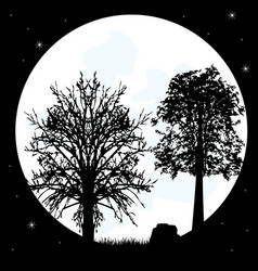 silhouettes tree on background of the moon vector image vector image
